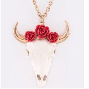 Gold Rose Skull Necklace